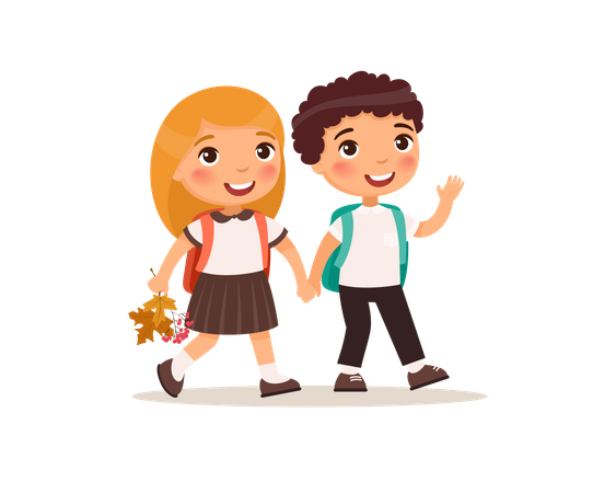 Couple pupils in uniform holding hands isolated cartoon characters Illustration