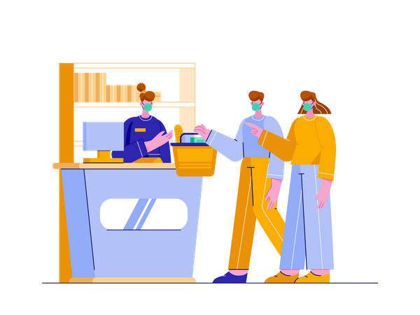 Couple purchasing groceries from store Illustration