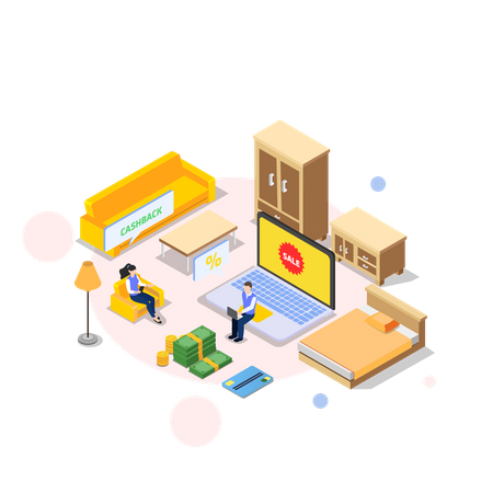 Couple purchasing online products Illustration