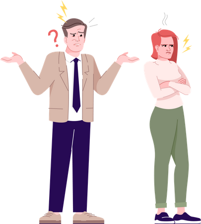 Couple quarrel Illustration