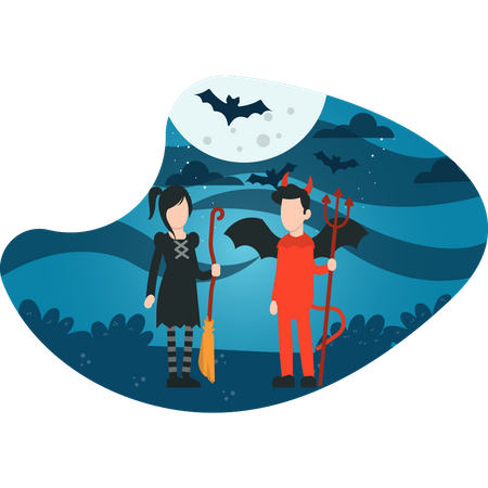 Couple ready for Halloween party Illustration