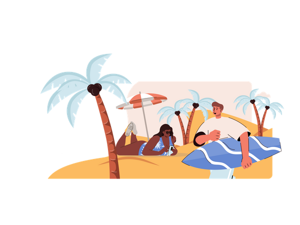 Couple relaxing on beach Illustration