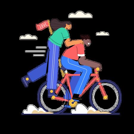 Couple riding the bike Illustration