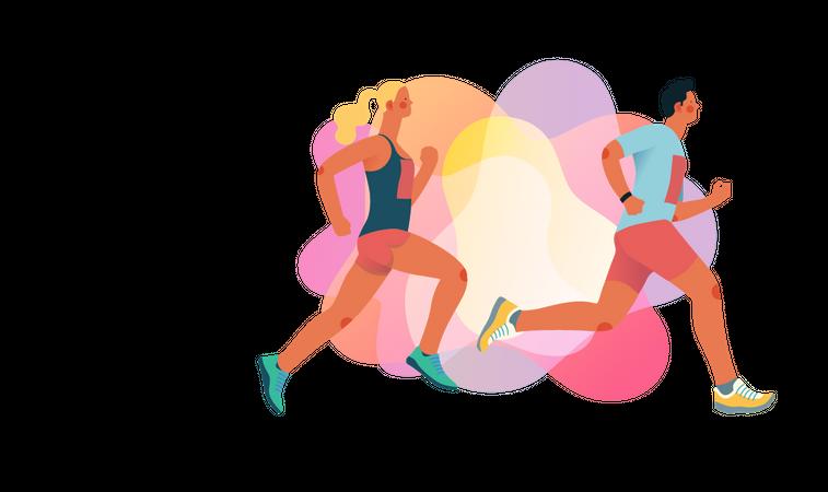 Couple running Illustration