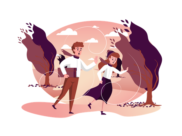 Couple running in storm windy weather in autumn park Illustration