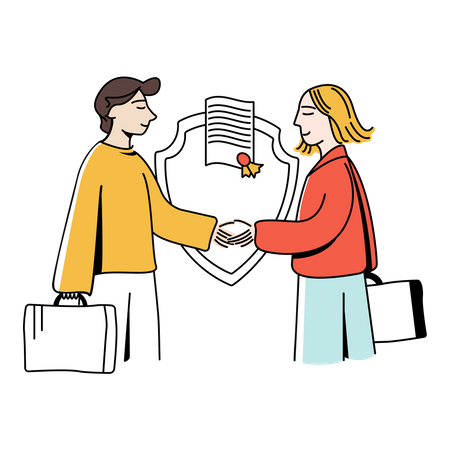 Couple secured by life insurance Illustration