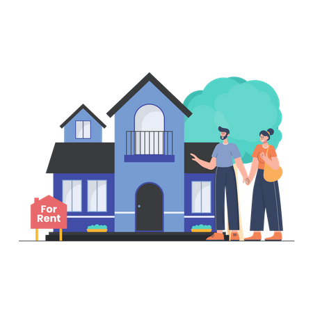 Couple seeing a House for Rent Illustration