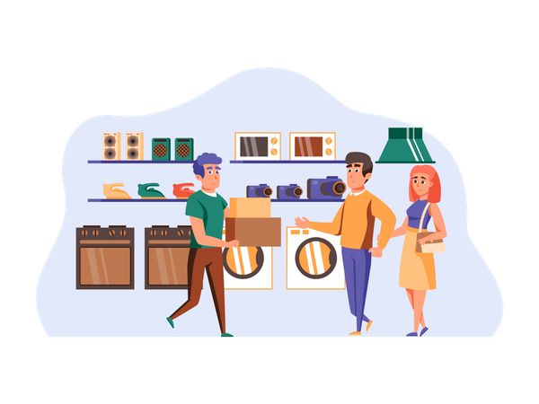 Couple shopping for electronic appliances Illustration