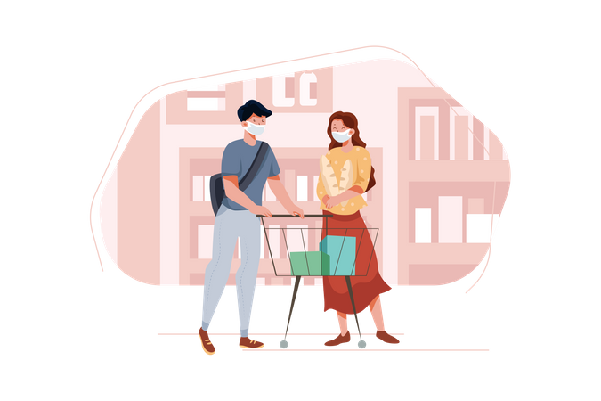 Couple shopping for groceries at store during pandemic Illustration