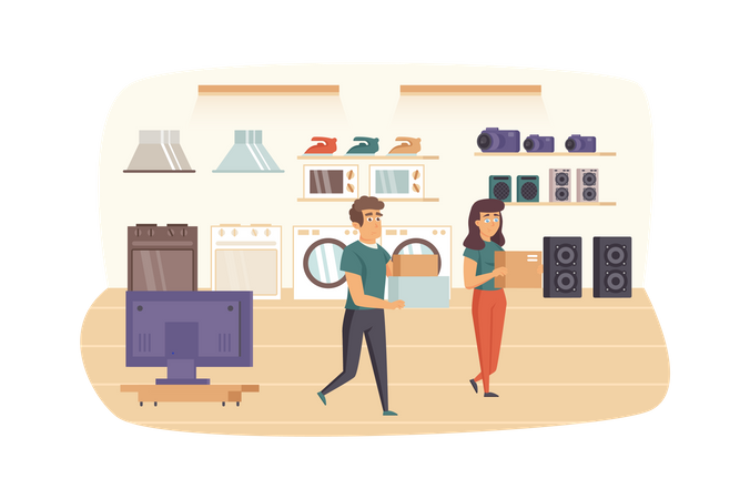 Couple shopping in household appliances store Illustration