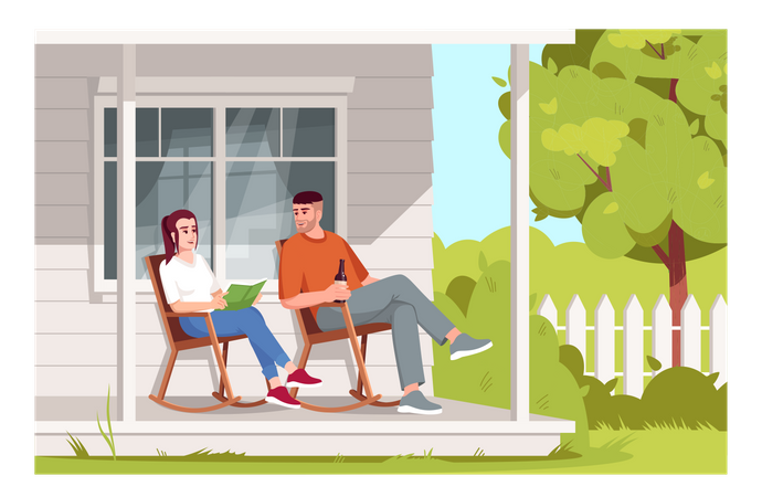 Couple sit in armchairs Illustration