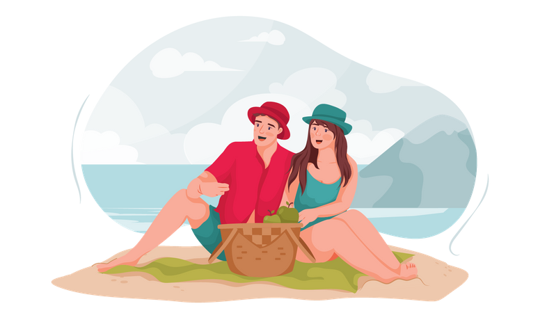 Couple sitting at beach Illustration