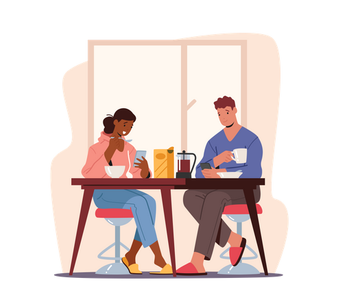 Couple Sitting at Table Having Breakfast with Smartphones in Hands Illustration