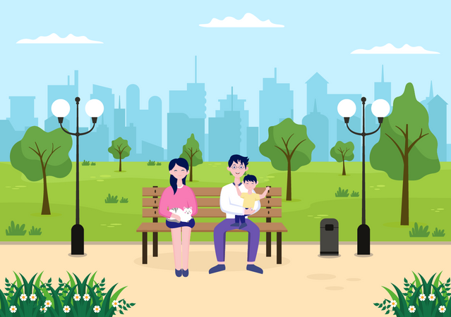 Couple sitting in City Park Illustration