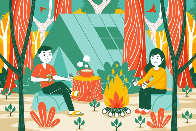 Couple sitting near campfire Illustration