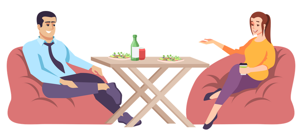 Couple sitting on beanbag and having lunch Illustration