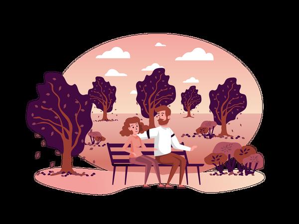 Couple sitting on bench Illustration