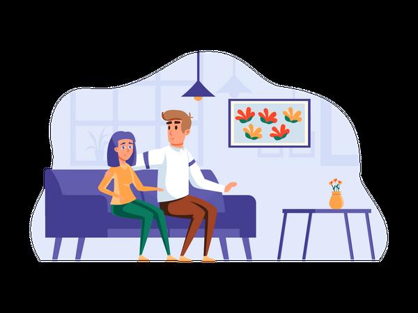 Couple sitting on sofa Illustration