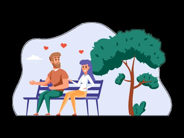 Couple sitting together in park Illustration