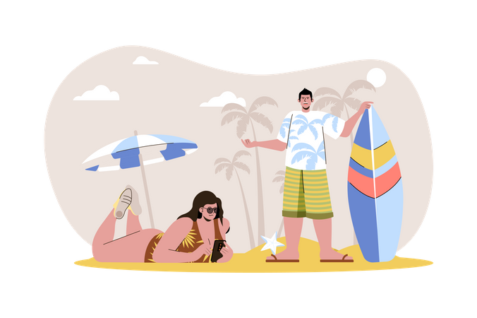 Couple spending summer time at beach Illustration