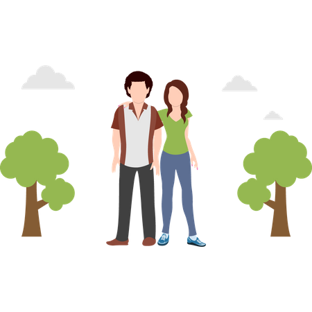 Couple standing at park Illustration