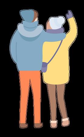 Couple standing together Illustration