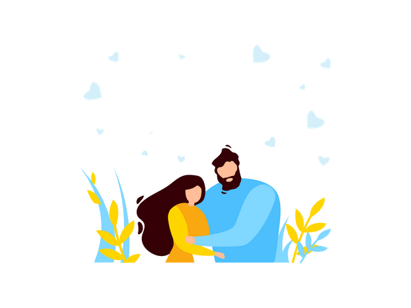 Couple Staying together Illustration