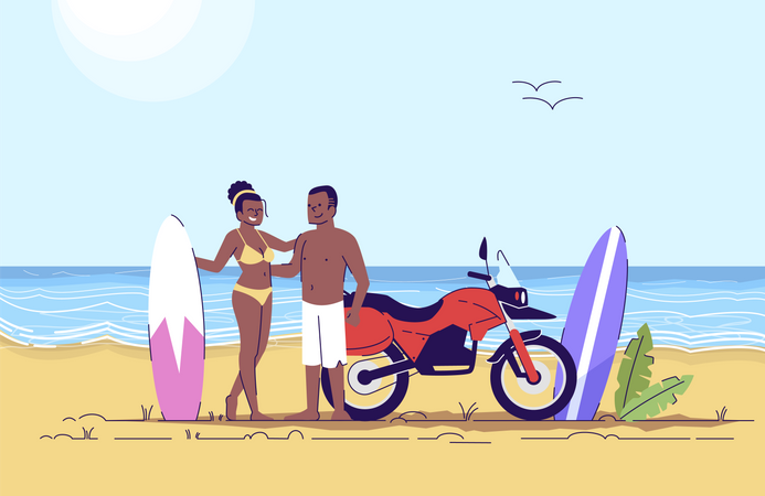 Couple Surfing on beach Illustration