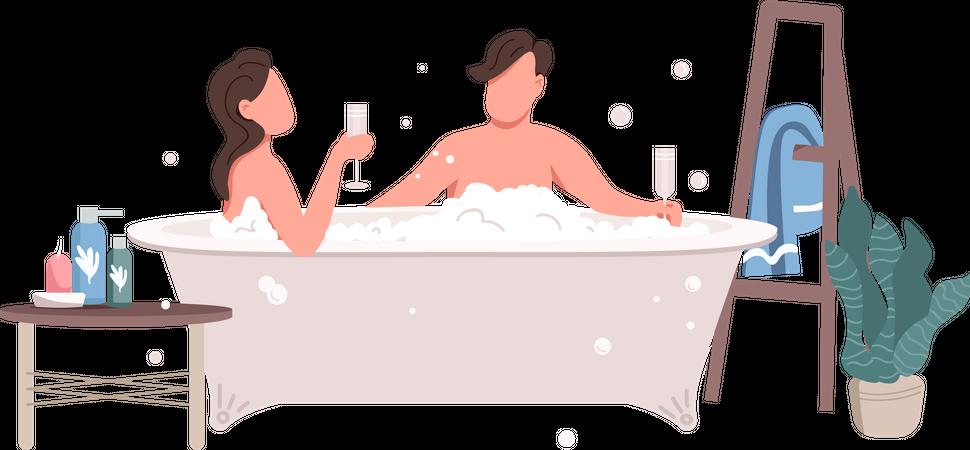 Couple taking bath Illustration