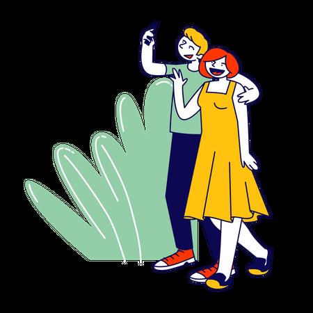 Couple taking selfie Illustration