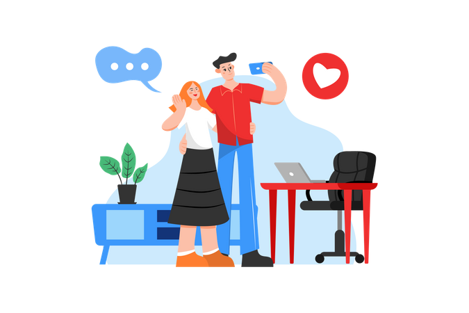 Couple taking selfie in a room Illustration