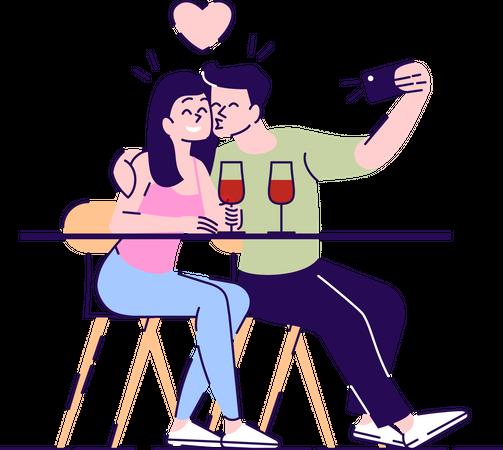 Couple taking selfie while kissing Illustration