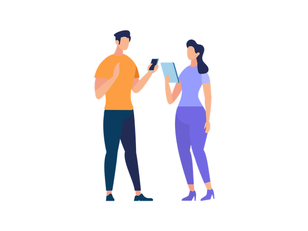 Couple talking holding mobile and tablet Illustration