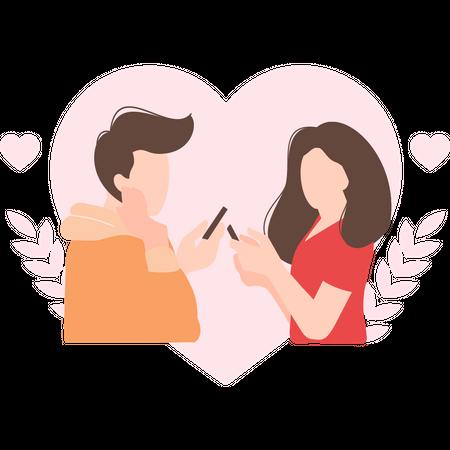 Couple talking on dating app Illustration