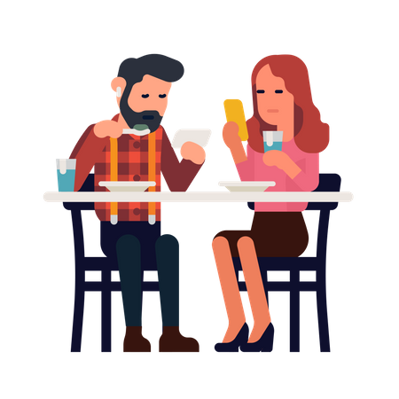 Couple uses a phone while having a meal Illustration