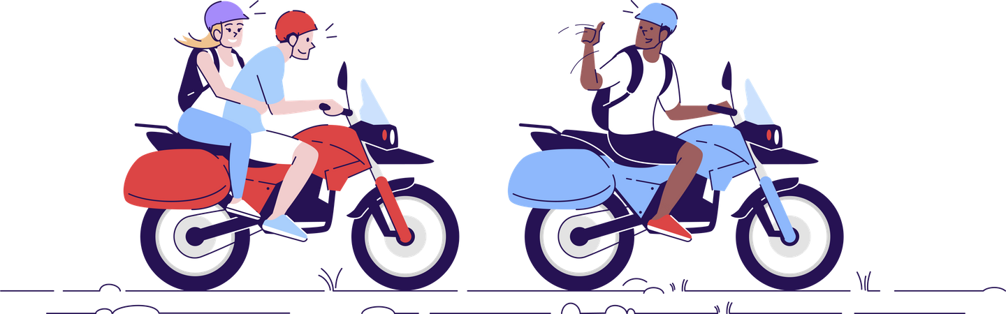 Couple using local transport with guide Illustration