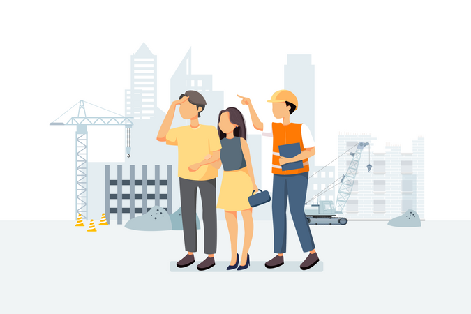 Couple visiting construction site for checking work progress Illustration
