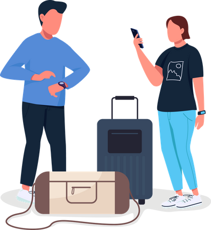 Couple waiting for flight Illustration