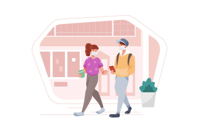 Couple walking by the road wearing face mask Illustration