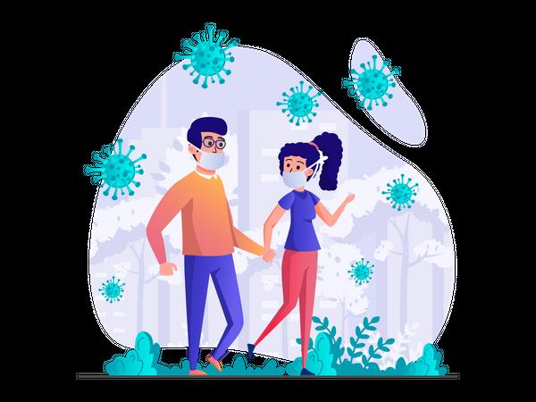 Couple walking in park wearing face mask Illustration