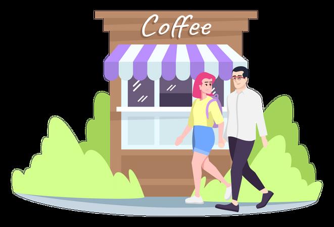 Couple walking on street Illustration