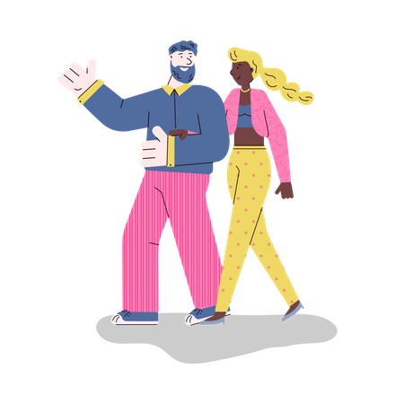 Couple walking together Illustration