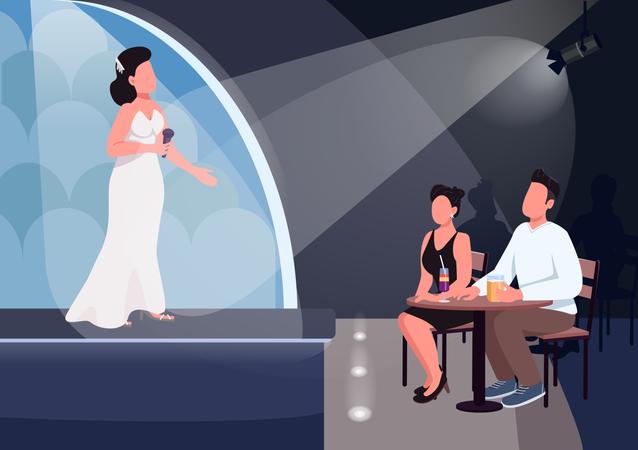 Couple watch performance Illustration