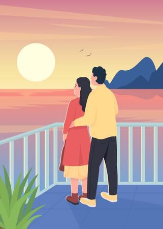 Couple watching romantic sunset Illustration