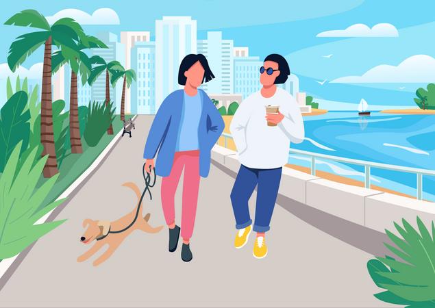 Couple with dog walking along seafront Illustration