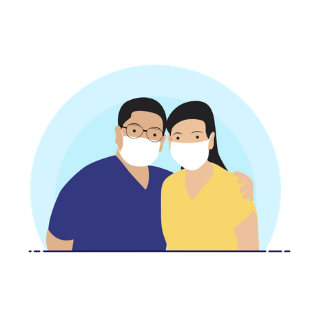 Couple with face mask Illustration