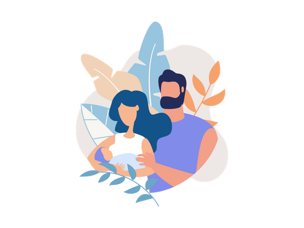 Couple with new born baby Illustration