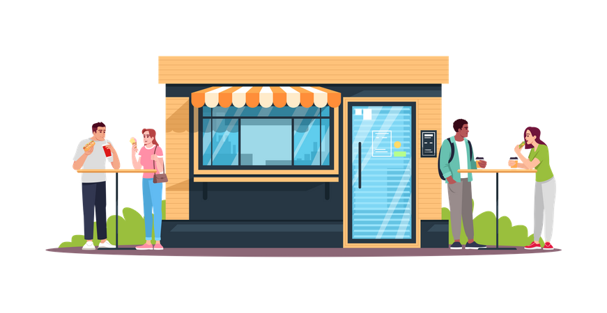 Couples having lunch at snack bar Illustration