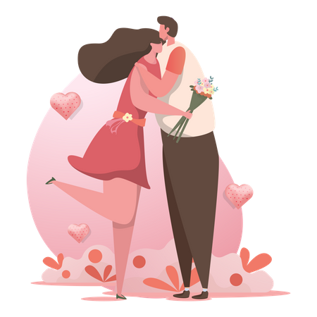 Couples in love hugging eachother on Valentine's day Illustration