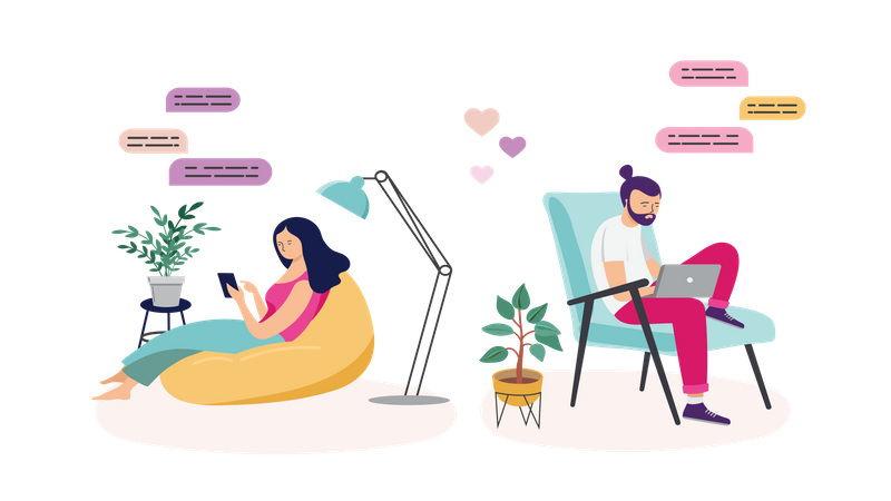 Couples with smartphones, tablets and laptops chatting online, during coronavirus quarantine Illustration